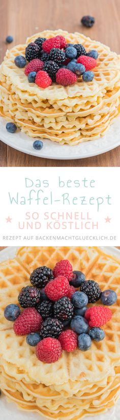 Waffeln-Grundrezept Simple recipe for classic waffle dough that tastes the whole family. The waffles become fluffy and crunchy at the same time. Tasting with fresh fruits as well as with whipped cream, quark, chocolate cream, applesauce or ice cream Waffle Recipes, Baking Recipes, Dessert Recipes, Best Pancake Recipe, Sweets Cake, Food Inspiration, Sweet Recipes, Love Food, The Best