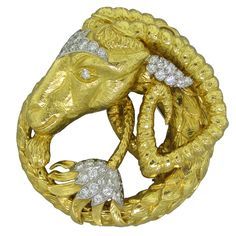 DAVID WEBB Diamond Gold Platinum Aries Zodiac Brooch | 1stdibs.com