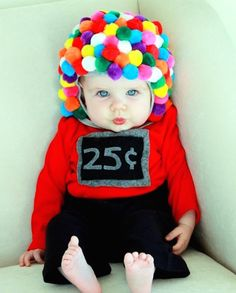 Use pom poms + felt to DIY this baby gumball machine costume.