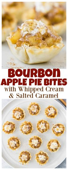 Bourbon Apple Pie Bites with Whipped Cream & Salted Caramel Easy, Delicious & Perfect for #Thanksgiving or #Holiday Parties!