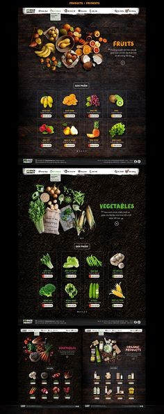 Farmer Market is an open food market selling three main types of food like Vegetables, Fruits, and Organic Products. This market is organized two times a month, where only fresh and clean ingredients are allowed to sell for customers.This is a fictional… Website Design Inspiration, Web Design Inspiration, Design Sites, Food Web Design, Menue Design, Web Mobile, Farmers Market Recipes, Food Banner, Fruit Shop
