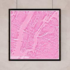 Lámina o mapa abstracto de la ciudad de Nueva York, lista para enmarcar