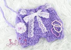 5pc Newborn Baby Girl Photo Prop Set, Knit Lavender Baby Girl Shorts, Newborn Baby Girl Lace Tie-Back, Newborn Bracelets, Photography Props