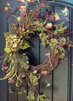 Fall Wreath Berry Twig Grapevine Wreath~❥