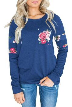 e55a76b350d Fashion Floral Patch Accent Navy Sweatshirt  sweatshirts  navy  forteens   winter  Plussize