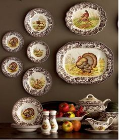 turkey transferware...I have the turkey platter in color and a few of the brown bowls that I mix and match with my gold rimmed plates at Thanksgiving.