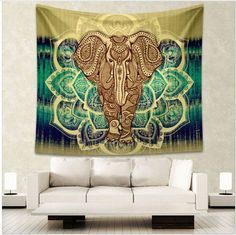 [Visit to Buy] Enipate Indian Elephant Tapestry Aubusson Colored Printed Decor Mandala Tapestry Religious Boho Wall Carpet Living Room Blanket Bohemian Wall Tapestry, Tapestry Beach, Indian Tapestry, Mandala Tapestry, Tapestry Wall Hanging, Bohemian Decor, Wall Tapestries, Mandala Blanket, Hippie Tapestries