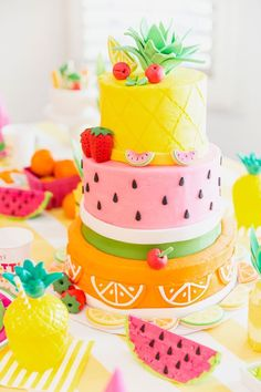 Fruity Birthday Cake Pineapple Watermelon Orange Birthday throughout Incredible Birthday Party Cake - Party Supplies Ideas Pretty Cakes, Cute Cakes, Beautiful Cakes, Amazing Cakes, Orange Birthday Parties, Fruit Birthday, Cake Birthday, Orange Party, Amazing Birthday Cakes