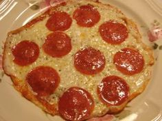 Skillet Pizza -- Low Carb or Atkins friendly pizza, no wheat, no grain, gluten free. Easiest pizza ever. Roll it up and dip it in some low sugar marinara. Yummm.