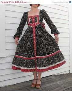 SHOP SALE Vintage 70s Gunne Sax Dress Black Floral by soulrust, $76.49.               I swear I had the same one!