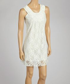 Look what I found on #zulily! Ivory Lace Scoop Neck Top by Anuna #zulilyfinds