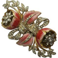 Coro Enamel Floral Quivering Duette Pin Brooch 1930's #Coro