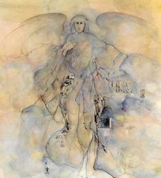 Watercolor Angel Print Heavenly Being Spiritual art Heavenly Hosts Guardian Angel of Prophecy Angelic
