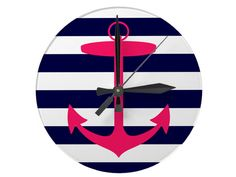 Add some colors to your wall (and be on time for class!) with a cute clock! (Pink Anchor Silhouette Round Anchor Wall Clock, $22.95, zazzle.com)