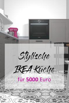 Tipps und Einkaufsliste zu einer stylischen Ikea Küche! Budget: 5000 Euro #ikeakücheplanen #ikeaküche #küche #kitchen #grau #zementfliesen Budget, Euro, Home Decor, Ikea Kitchen, Apartment Kitchen, Shopping, Grey, Ideas, Tips