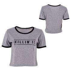Killin It Letter Print Fashion Women Summer Top Letter Print Casual T shirt 2016 Sexy Slim Funny Top Tee Short Sleeve Shirts
