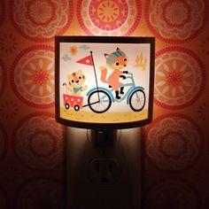 Fox and Tiger bike Ride Adventure Cute Night Light Nursery Bathroom hallway Bedroom GET IT nightlight Nite Lite