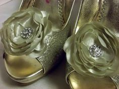 Light Sage Green Shoe Clips   Bridal Shoe Clips by ShoeClipsOnly