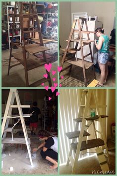 DIY kitty tower from an old ladder. Nailed platforms across the steps, made two ladders, painted, and carpeted all the platforms. All for $20!