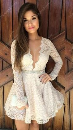 145.00$  Buy here - http://vidks.justgood.pw/vig/item.php?t=qx4tk8s6656 - Cute Ivory Long Sleeve Beaded Waist Knee Length Lace Homecoming Dress