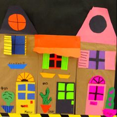 Paper bag houses. Could be fun activity to teach shapes and address in the same lesson.