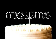 Cake Topper Monogram Silver Set Mrs Mr with by CreativeStamps, $17.00