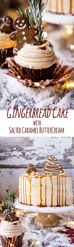 Gingerbread Cake with Caramel Cream Cheese Buttercream. - Half Baked Harvest Gingerbread Cake with Caramel Cream Cheese Buttercream. Christmas Sweets, Christmas Cooking, Noel Christmas, Holiday Baking, Christmas Desserts, Holiday Treats, Christmas Cakes, Holiday Parties, Holiday Cakes