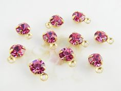 5mm Rose Pink Rhinestone Drops Brass 1 Ring Charm Settings -10 $2.99