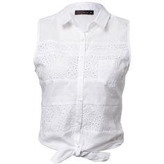 Free Fusion Tie Front Broderie Shirt White ($11) ❤ liked on Polyvore featuring tops, shirts, tank tops, blouses, blusa, embroidered shirts, white button shirt, white embroidered top, layered tops and white top