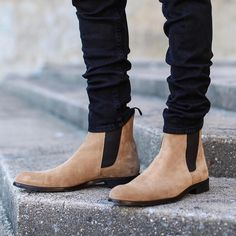 Classic ORO Taupe Leather Chelsea Boots with dark brown elastic side panels. ORO'S third edition Chelsea Boot. Taller in height with an improved bottom sole. - 100% Suede Velour - Second Limited Resto