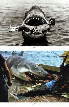 Behind the scenes filming Jaws. Steven Speilberg when he was young on the top picture.