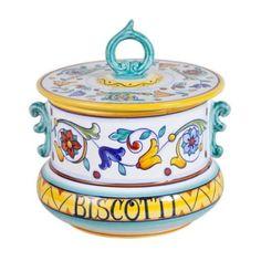 Amazon.com: Deruta Primavera Ceramic Biscotti Jar From Italy: Kitchen & Dining