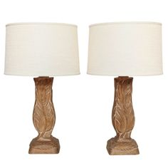 Pair Of  Carved Cerused Oak Flame lamps Signed By Heifetz, c. 1940 | From a unique collection of antique and modern table lamps at http://www.1stdibs.com/furniture/lighting/table-lamps/