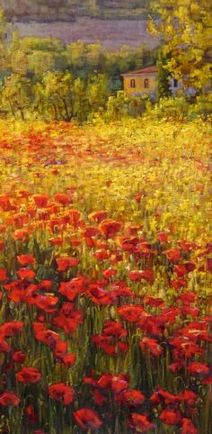 Sunrise Poppies, Tuscany by Caroline Zimmermann, Oil on Canvas, 80cmx40cm THIS PAINTING IS SOLD