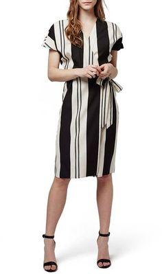 Topshop Stripe Short Sleeve Wrap Dress