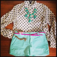 Polka dot shirt, mint shorts JCrew Factory, pink belt, and statement necklace.