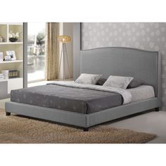 Aisling Gray Fabric Platform Bed - Overstock™ Shopping - Great Deals on Baxton Studio Beds 719