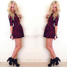 Fashion Round Neck Half Sleeve Plaid Dress