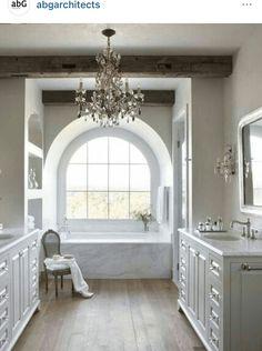 Dream Bathrooms, Beautiful Bathrooms, Master Bathrooms, Small Bathrooms, Dream Rooms, Bathroom Chandelier, Bathrooms With Chandeliers, Bathroom Lighting, Sweet Home