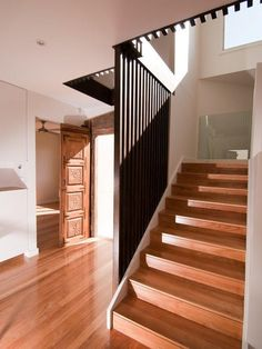 Elegant Unique Modern House Plans with Luxurious Interior Impression : Astonishing Staircase Design Wooden Steps Drummoyne Residence Interio...