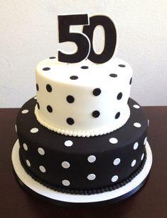 Black and white polka dot 50th Birthday Cake!