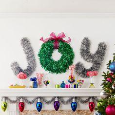 Tinsel wall decoration spelling JOY