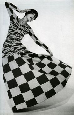 Photo from Time Magazine 1964 showing the Op Art fashions of the 60's