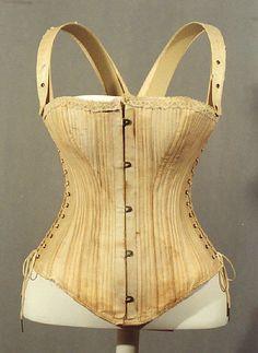 Corset, American or European, 1880s. Cotton, metal.