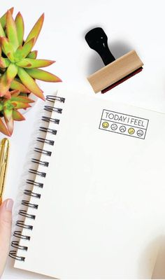 Rubber Stamp with Wood Mount + Handle from the Bullet Journal + Planner Collection by Creatiate Bullet Journal Layout, Bullet Journal Inspiration, Bujo, Laura Lee, Bullet Journel, Journal Aesthetic, Love Stamps, Mood Tracker, Planner Organization