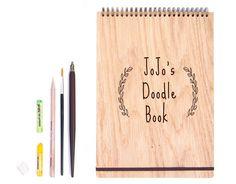 Custom Sketchbook, Personalized Sketchbook, Sketchbook Journal, Art Journal, Drawing Book, Unique Sketchbook, Wood Sketchbook, A5 size by Flexiwood