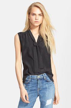 Frame Denim Sleeveless Tie Neck Silk Shirt