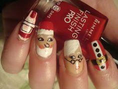 Santa/Mrs. Claus Nails Christmas nail art  www.paintthatnail.com