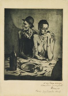 """"""" Pablo Picasso - The Frugal Meal (1904) - Created during the artist's Blue Period, """"The Frugal Meal"""" is one of the masterpieces of twentieth-century graphic art, vividly evoking Picasso's experiences as a young artist living in the..."""