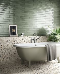 2020 bathroom trends Planning a bathroom renovation Check out the latest trends in tiles for your project. Textured finishes, patterned designs and large format tiles, the collections in this article focus on the key tile trends for Bad Inspiration, Bathroom Inspiration, Interior Inspiration, Beige Bathroom, Small Bathroom, Bathroom Large Tiles, Bathroom Green, Bathroom Bath, Baño Color Beige
